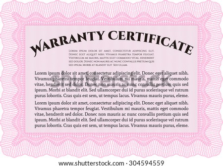 Warranty template. Complex border design. With sample text. Very Customizable.