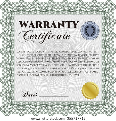Warranty template. Complex border. With sample text. Very Detailed.