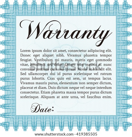 Warranty template. Cordial design. With background. Customizable, Easy to edit and change colors.