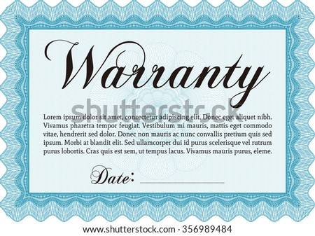 RoyaltyFree Sample Warranty Certificate With  Stock