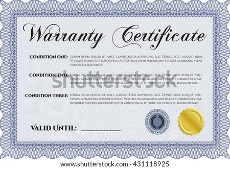 Warranty template. Excellent design. Customizable, Easy to edit and change colors. With complex background.