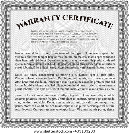 Warranty template. Good design. Customizable, Easy to edit and change colors. With background.