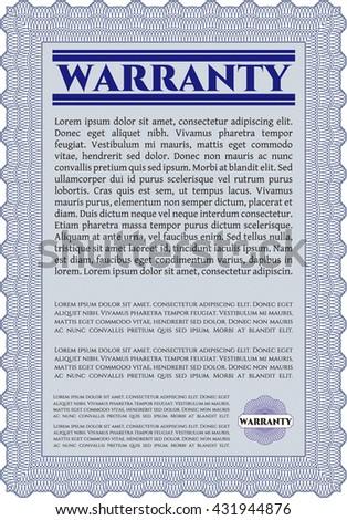 Warranty template or warranty certificate.