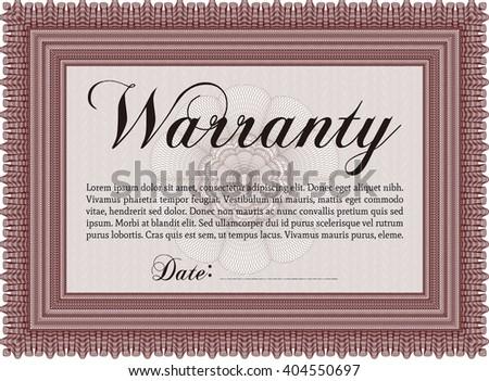 Warranty template or warranty certificate. Sophisticated design.