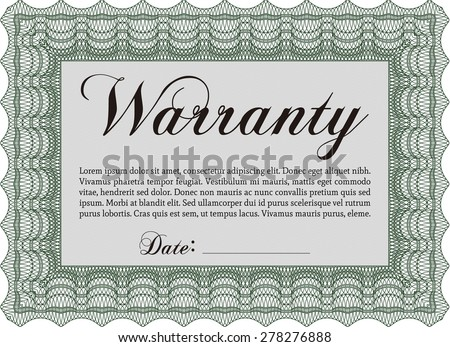 Warranty template. Vector illustration. With background. With sample text.