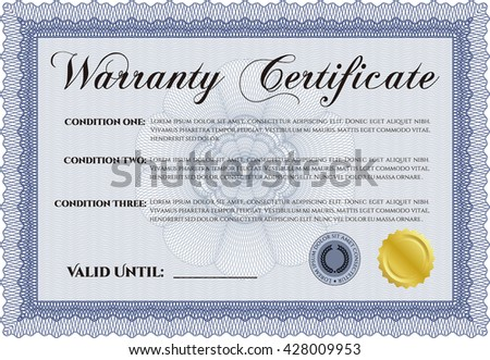 Warranty template. With background. Customizable, Easy to edit and change colors. Good design.