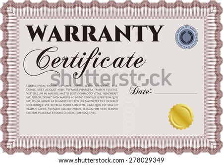 Warranty template. With complex background. With sample text. Very Detailed.