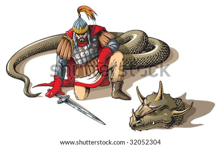 Warrior defeated giant snake, Russian folklore and mythology characters, vector illustration