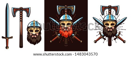 Warrior emblem with bearded Viking in helmet, double-edged axe and crossed swords. Vector illustration.