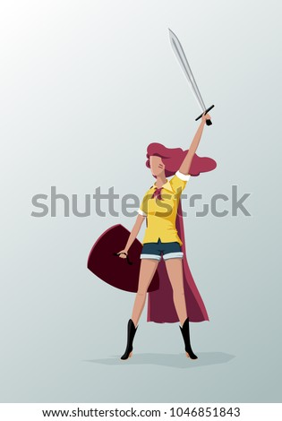 warrior girl with a sword and a