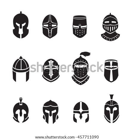 Warrior helmets black icons or logos set. Knight armor, vector illustration