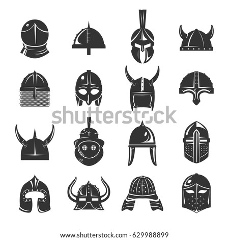 warrior helmets set of vector