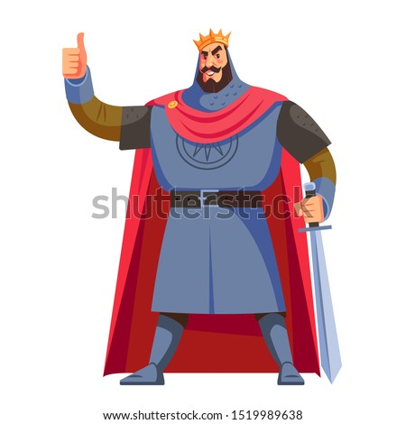 Warrior King. A strong, tall, brave king with a sword. The king shows that he is pleased. Cartoon vector illustration isolated on white background.