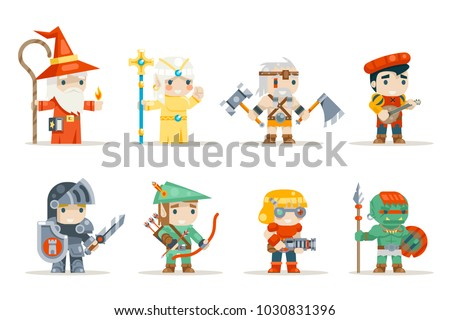 Warrior mage elf priest archer barbarian berserk bard tribal orc engeneer inventor fantasy rifleman RPG game characters isolated icons set vector illustration