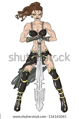warrior maiden with two hand