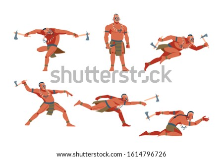 Warrior native people of American aboriginal, Australian and African tribes set, tribe member in traditional clothing vector Illustrations on a white background set with six different warlike poses.