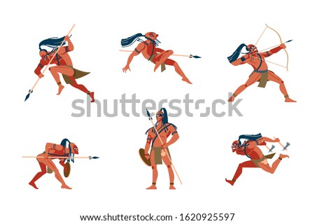 Warrior native tribes of American aboriginal, Australian and African tribes. Cartoon vector Illustrations with different warlike poses. Archery, attacks with Tomahawks and spears, injuries and hunting