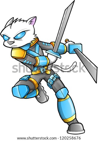 Stock Photo Warrior Ninja Cyborg Soldier Vector