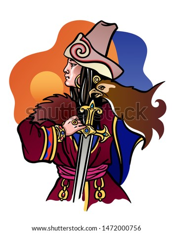 Warrior nomad woman from Kazakhstan, Central Asia. Traditional ethnic Kazakh costume and jewelry. Holding sword and golden eagle. Sunset orange and blue sky. Travel to Kazakhstan. Vector illustration.