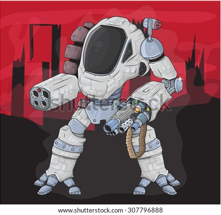 warrior robot vector