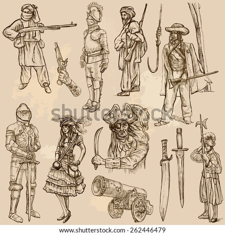 WARRIORS and Soldiers (set no.11) - Collection of an hand drawn vector illustrations. Each drawing comprise three layers of lines, the colored background is isolated. Editable.