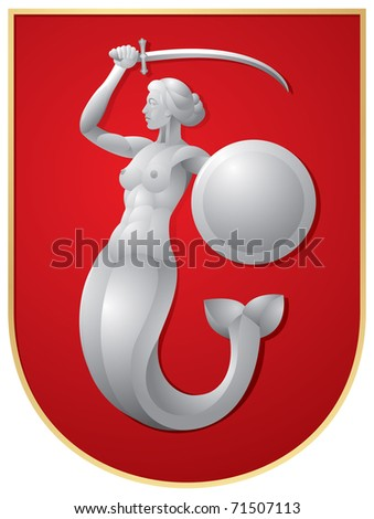 Warsaw's Mermaid. Syrenka - Mermaid, the guardian of the capital of Poland, Sirena with the sword on the red shield, vector image - stock vector