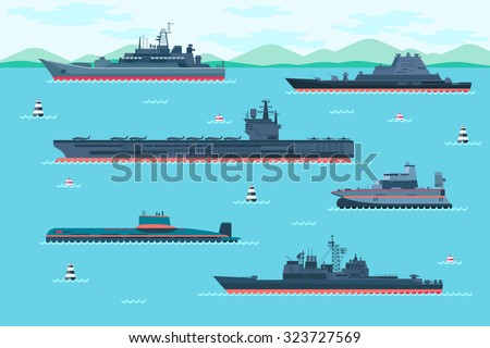warship set in flat style boat