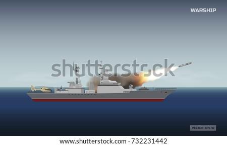 warship shooting a rocket