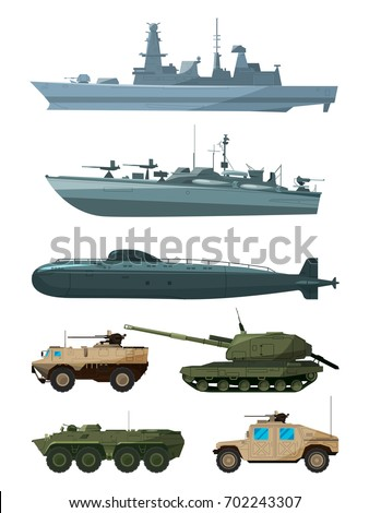 warships and armored vehicles
