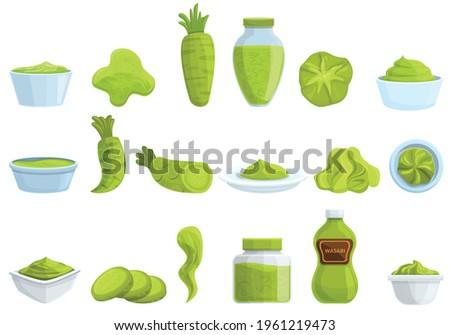 Wasabi icons set. Cartoon set of wasabi vector icons for web design Stock fotó ©