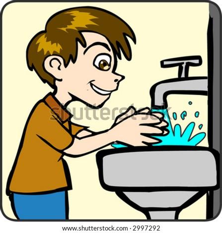 Boy Washing Face Wash Face Clipart