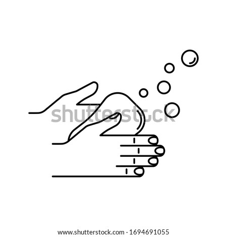 Wash hands with soap vector icon. Virus protection. Anti covid-19 measures. Minimalist line art vector illustration isolated on white background.