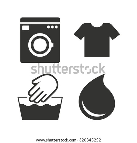 Wash machine icon hand wash t shirt clothes symbol for How to hand wash white shirt