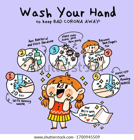 Wash Your Hand to Keep Corona Away  Cute Campaign Doodle Illustration Vector