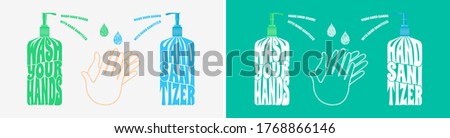 Wash your hands with hand sanitizer, text warp poster vector illustration concept, isolated on white and turquoise background. Сток-фото ©