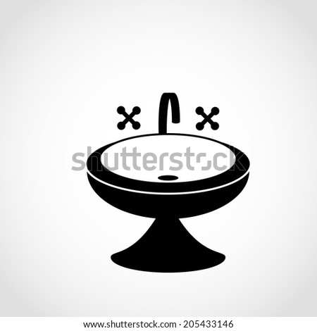 Washbasin With Water Tap Icon Isolated on White Background Stok fotoğraf ©