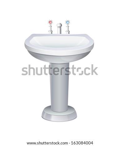 Washbasin With White Water Tap  Stok fotoğraf ©