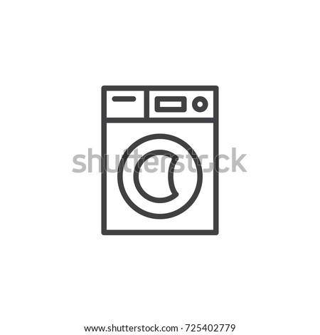 Washer machine line icon, outline vector sign, linear style pictogram isolated on white. Symbol, logo illustration. Editable stroke