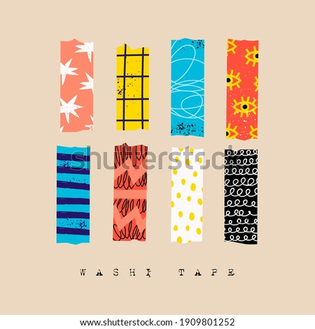 Washi Tape. Various colorful strips. Different textures. Set of colored patterned tapes. Collection of decorative scotch tape. Hand drawn Vector illustration. All elements are isolated