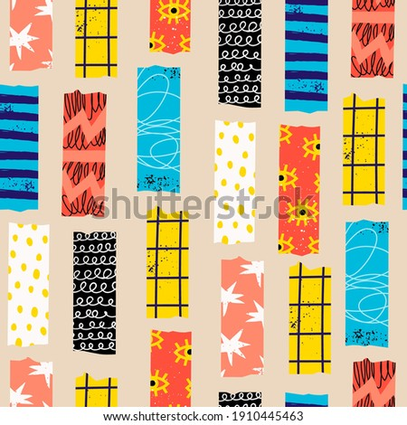 Washi Tape. Various colorful strips. Different textures. Set of colored patterned tapes. Collection of decorative scotch tape. Hand drawn Vector seamless Pattern. Square background