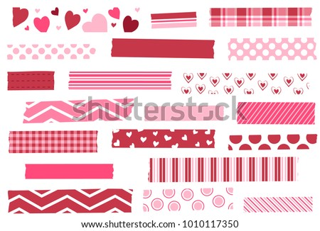 Washi tape vector illustration. Red and pink masking tape strips. Design elements for decoration. EPS file has global colors for easy color changes and semitransparent tape strips.