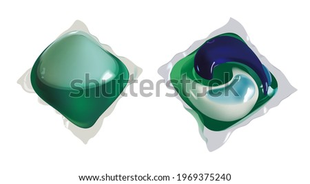 Washing capsule pod isolated. Liquid detergent. Vector realistic Foto stock ©