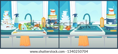 Washing dishes in sink. Dirty dish in kitchen, clean plates and messy dinnerware. Dirt unwashed or clean dish washstand and kitchen dishes, washing home utensil cartoon vector illustration