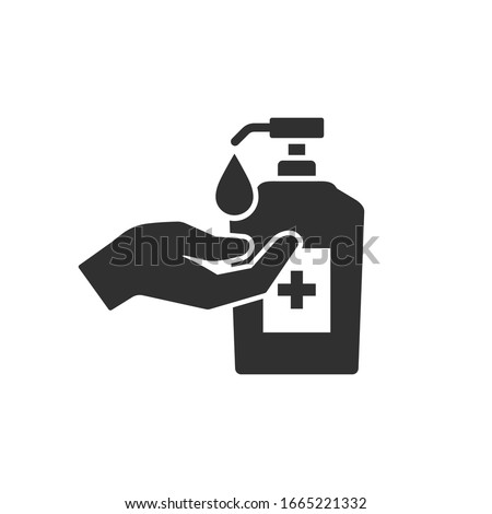 Washing hand with sanitizer liquid soap vector icon