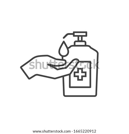 Washing hand with sanitizer liquid soap vector line icon