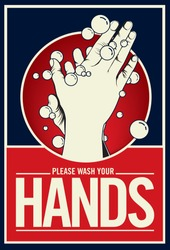 Washing hand with soap. Propaganda style illustration -vector