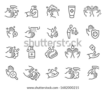 Washing Hands and Hygiene icons set. Collection of linear simple web icons such as antiseptic, hand hygiene, hydration, rinse, soap and other. Editable vector stroke.