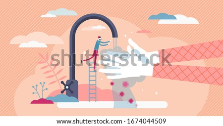 Washing hands concept, flat tiny person vector illustration with water tap and soap foam. Abstract stylized personal hygiene scene. Disinfection from corona virus COVID-19 and other infectious viruses