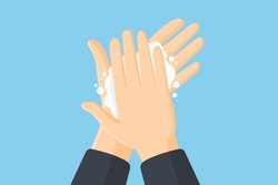 Washing hands with soap vector flat illustration. Hygiene concept