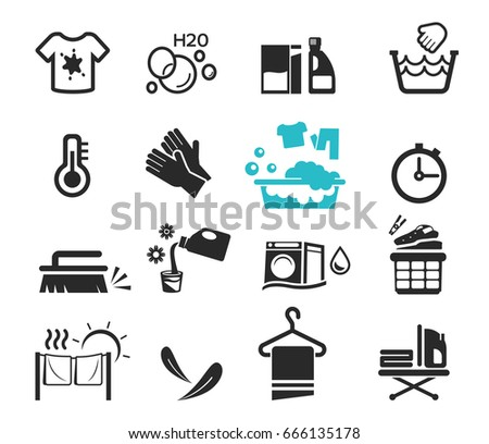 washing icon set concept